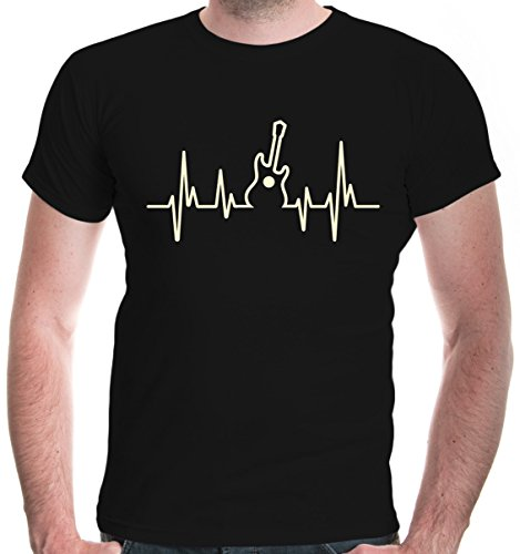 buXsbaum® Herren T-Shirt Musikfrequenz Gitarre | Instrument Musik Guitar | L, Schwarz