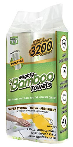 Mighty Bamboo Towels - Super Strong, Ultra Absorbent, Reusable Bamboo Cloth (Paper Towel...