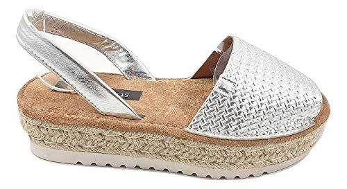 Timbos Zapatos - 122707- Menorquina Plataforma Esparto, Verano para Mujer en Color Plata (Plata, Numeric_37)