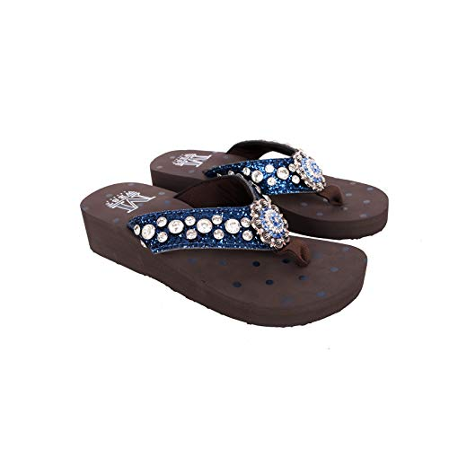 Montana West American Flag Comfort Thong Flip Flops for Women Embroidered Comfortable Western Wedge Sandals Navy Size 8 SE94-S001NY 8