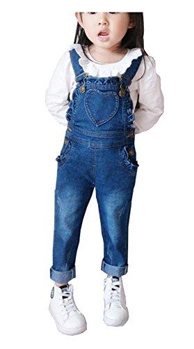 CYSTYLE Kinder Mädchen Denim Overall Jeans Hose mit Rüschen Kinder Baumwolle Latzhose (140/Körpergröße 120-128cm)