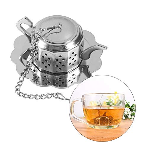 Stainless Steel Loose Leaf Tea Infuser Teapot Shape Herbal Spice Tea Filters Tea Strainer with Chain and Drip Trays for Rooibos, Green Tea and Oolong Tea Silver 2.3'