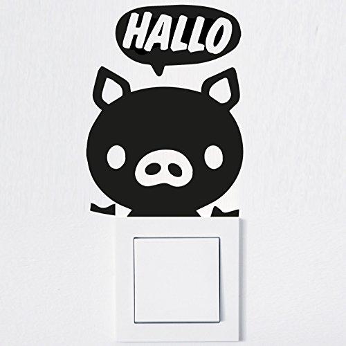 Wandtattoo in deiner Wunschfarbe Aufkleber Lichtschalter Hallo Schwein Pig Steckdose 9,5x13 cm Wand Aufkleber Sticker