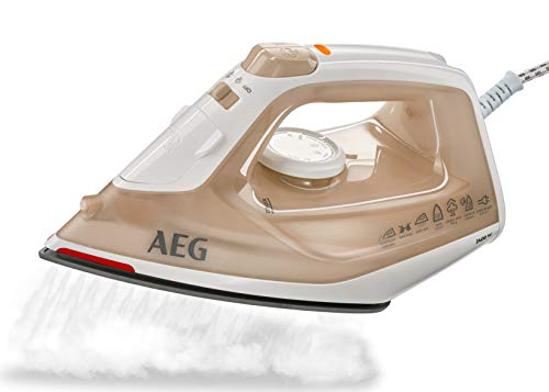 AEG Dampfbügeleisen EasyLine DB 1740 (2400 Watt, 110g Dampfstoß, SoftGlide Keramiksohle, Restwärmeanzeige, Anti-Kalk System) Bernstein/weiß