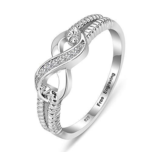 Gaosh Personalisierte Gravur Infinity Ring mit Zirkonia BFF Ring Vertrauensring Damen Ring 925 Sterling Silber Geschenk Für Geburtstag Jahrestag (60 (19.1))