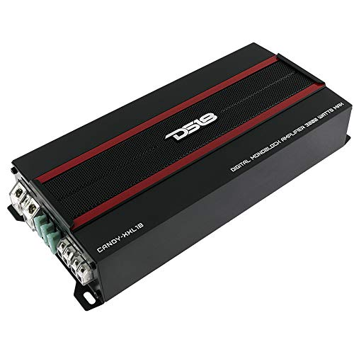 DS18 CANDY-XXL1B Amplifier in Black - Class D, Monoblock, 3000 Watts Max, Digital, 1/2/4 Ohm, with Remote Subwoofer Level Controller - Compact Mini Amplifier for Speakers in Car Audio System