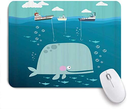 Mausmatte Mauspad Cartoon niedliches Kind Wal blau Hintergrund Marine Thema Schiff Angeln Fisch Schule Unterwasserwelt angepasst Mauspad rutschfeste Gummi Baseaccessoires