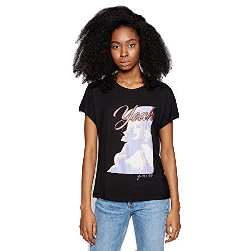 Guess Camiseta de Manga Corta para Mujer Negra con Cuello Redondo W1GI0DK68D2-JBLK XS