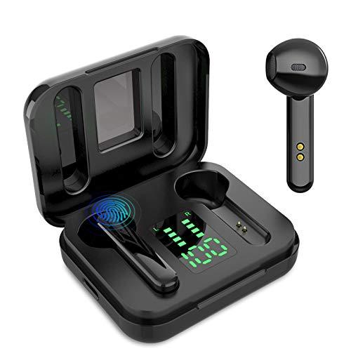 Auricular Bluetooth 5.0, Auricular inalámbrico, micrófono y Caja de Carga incorporados, reducción del Ruido estéreo 3D HD, para Auriculares iPhone/Airpods/Samsung/Huawei/Xiaomi