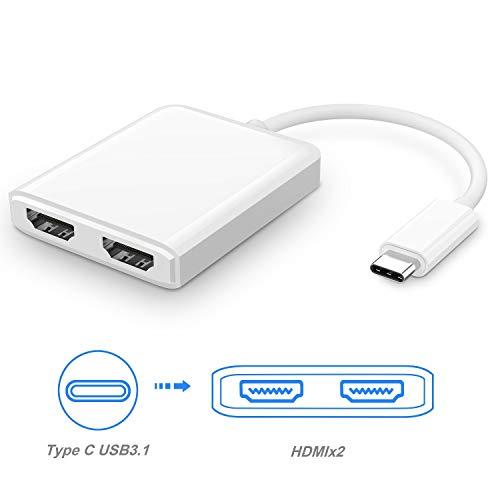 Adaptador USB C a HDMI Doble, USB 3.1 Tipo C a HDMI Doble, Divisor de Varios monitores para Dispositivos USB-C con Modo Alternativo DisplayPort (Modo DP Alt)