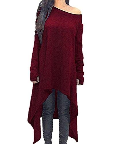 ZANZEA Damen Unregelmäßige Strick Oversize Langarm Pullikleid Longshirt Top Minikleid Rot EU 44/Etikettgröße XL