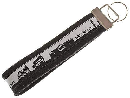 Stuttgart Schlüsselband aus Filz | Skyline Stuttgart in schwarz-Weiss | Geschenk für Damen und Herren | Filz 100% Wolle (Merinowolle)