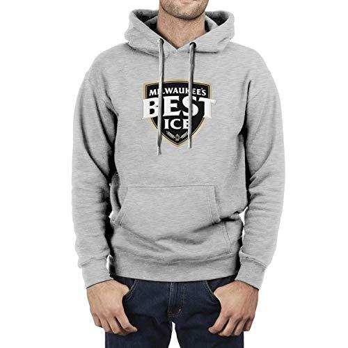 Mens Miller Milwaukee's Best Style Long Sleeve Hoodie Vintage Gray Pullover Fleece Sweatshirt