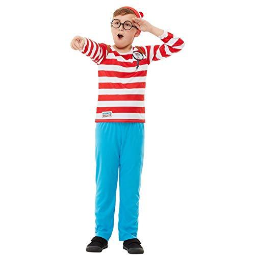 ZXY Disfraz del Día del Libro Mundial con licencia oficial Donde está Wally? Deluxe, falda de gafas, gafas, sombrero, escenario, espectáculo de cosplay, traje de niño, M