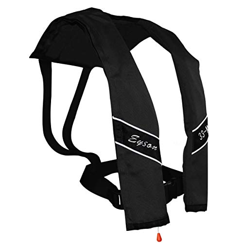 Eyson Slim and Neckline Comfortable Inflate Inflatable PFD Survival Aid Sailing Life Jacket Vest Universal Adult Manual (Black)