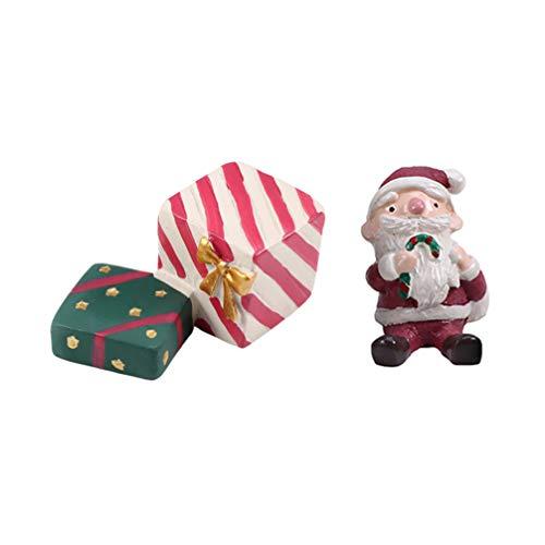 Amosfun 2ピースクリスマスミニチュアオーナメント樹脂サンタギフトボックス置物妖精ガーデンドールハウスの装飾用ホリデーパーティーの好意