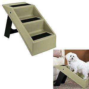 HowPlumb Pet Dog Stairs 3 Step Portable Folding Plastic Anti-Slip Easy-Up Sure Grip Steps
