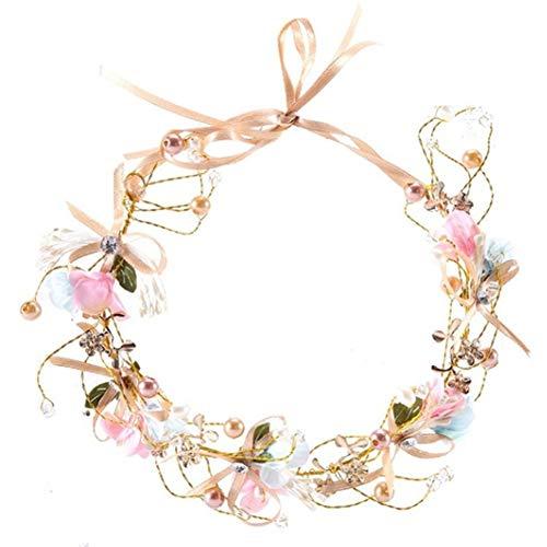 Sanwood Bandeau à cheveux pour mariée, couronne florale en fausse perle faite à la main, coiffe, fête de mariage