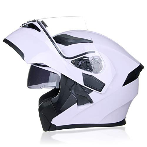 JIEKAI Klapphelme Fur Motorrad Mit Sonnenblende Motorradhelm Damen M-XXL 55-64cm Motorradhelm Klapphelm Mit Sonnenblende Herren Motorradhelm Klapphelm Integralhelm Helm,White-XXL(63-64cm)