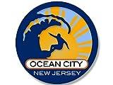 Magnet 4x4 inch Round Surfer On Wave Ocean City New Jersey Sticker (Surfing surf Beach) Magnetic Magnet Vinyl Sticker
