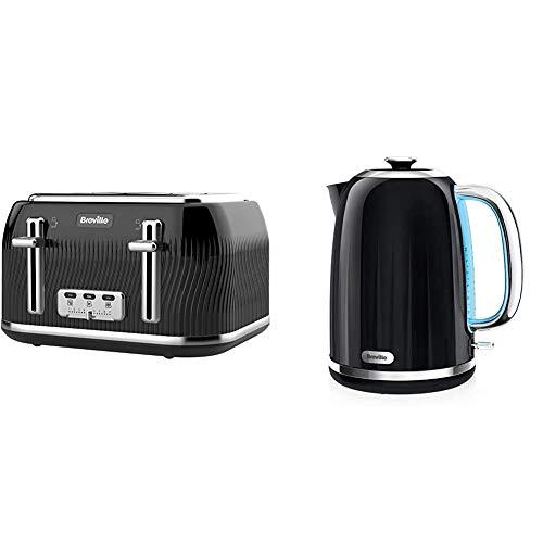 Breville VKT890 Flow 4-Slice Toaster with High-Lift and Wide Slots, Black & Impressions Electric Kettle, 1.7 Litre, 3 KW Fast Boil, Black [VKJ755]