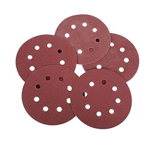 Lijado de gancho y bucle discos de lijado Pads 5 pulgadas 8 agujeros 125mm 60/80 / 100/120/240 * 20 hojas de lija para Random Orbital Sander 100pcs (rojo oscuro)