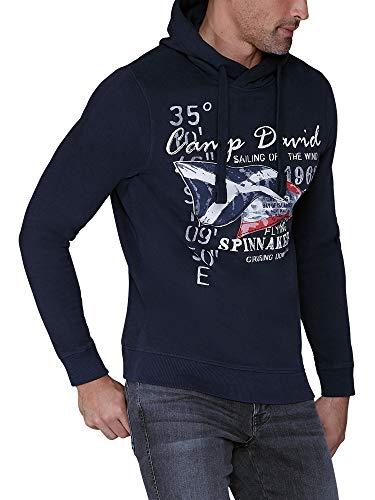 Camp David Herren Kapuzensweater mit Sailing Print, Blue Navy, 3XL