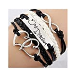 Ebuyingcity Fashion Infinite Bracelet Leather Knit Rope Love One Direction Heartpunk Charms