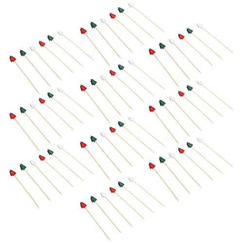 Holibanna 100 Piezas Palillos de Fruta Palillos de Cóctel Madera Árbol de Navidad Palillos de Fruta Tenedor de Postre para Suministros de Fiesta de Navidad