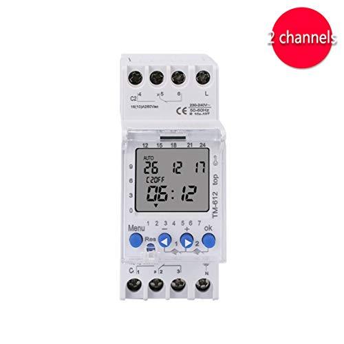 SINOTIMER 220V TM612 Zwei-Kanal-Timer 7 Tage 24 Stunden programmierbare elektronische LCD-Digital-Zeitschaltuhr mit zwei Relaisausgängen (Farbe: Weiß)