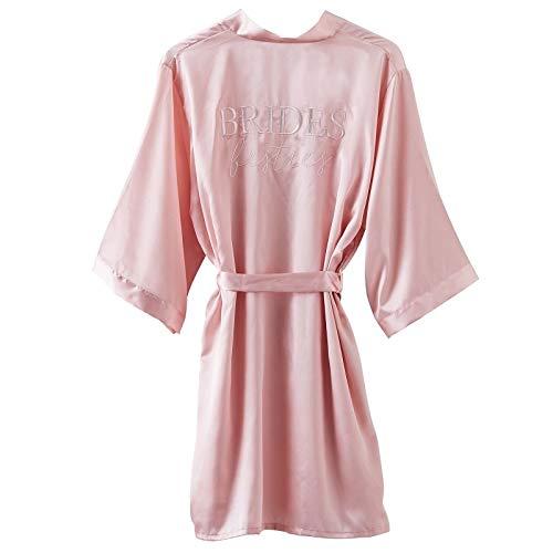 Satin Kimono Morgenmantel BRIDES BESTIES rosa blush & weiß / Zubehör Accessoires Braut Frauen Freundinnen Trauzeugin JGA Junggesellen-Abschied Junggesellinnen-Abschied Party Hochzeits-Accessoires