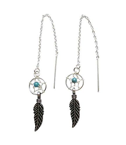 Pendientes atrapasueños con plumas, plata de ley 925, turquesa
