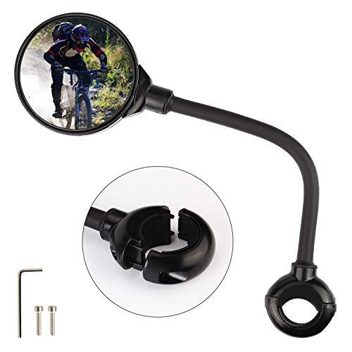 Fahrradspiegel, Fahrrad Rückspiegel, 360° Verstellbarer Rückspiegel Fahrrad, HIBOER Fahrrad Weitwinkel Spiegel Lenkerspiegel für Fahrrad, E-Bike, Mountainbikes, Roller, Mofa, Rollstuhl, Motorrad