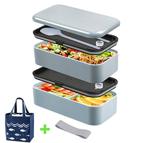 Bento Box, DA HENG Lunchbox für Erwachsene, Lunch box für Kinder, Brotdose mit Isolierbeutel, Teiler, Utensilien, Brotdose, Aus Lebensmittelgeeignetem PP, Auslaufsicher, Mikrowellengeeignet, BPA-frei