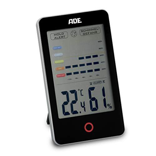 ADE Digitales Hygrometer WS 1701 mit visuellem Schimmelalarm. Thermometer mit präziser Anzeige der Temperatur. Luftfeuchtigkeit mit 12 Stunden-Verlauf. Großes LCD-Display. Inkl. Batterie. Schwarz