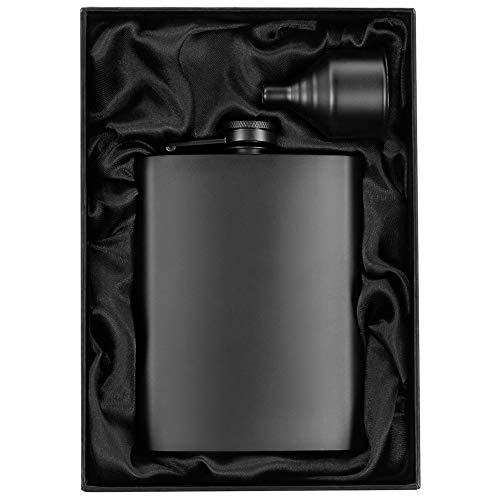 8oz Matte Black Flask + Black Funnel + Black Canvas