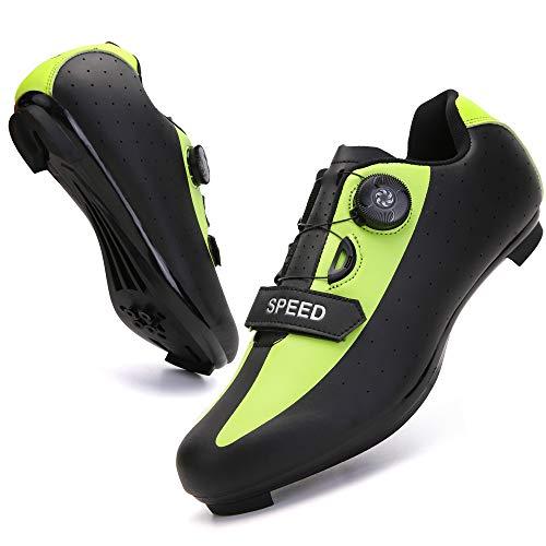 KUXUAN Zapatillas de Ciclismo para Hombre Zapatillas de Bicicleta de Carretera con SPD,Zapatillas Peloton con Hebilla Delta Compatibles,Green-12UK=(280mm)=46EU