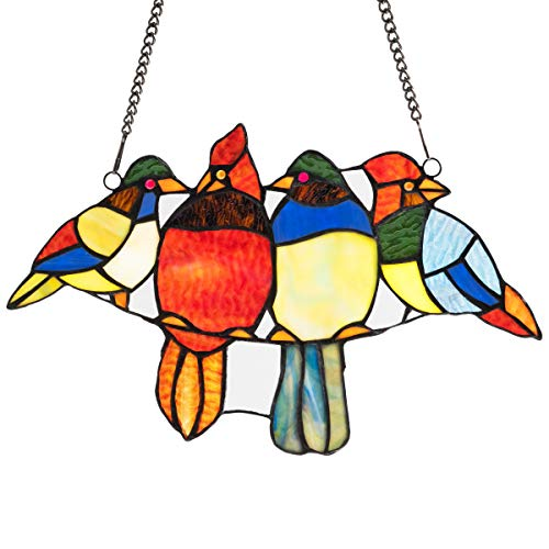 Tangkula Tiffany Glass Window Panel, 14.5 Inches Tiffany Style Stained Glass, 4 Birds Window Panel Hangings with Chain