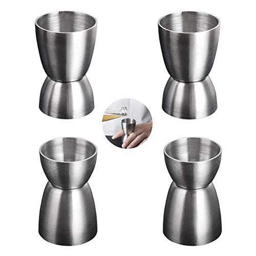 4 jiggers dobles de acero inoxidable (4 cl y 2 cl), jigger de cóctel de estilo janpanés, taza de medida, taza de onza para bartending y herramientas de medición del hogar