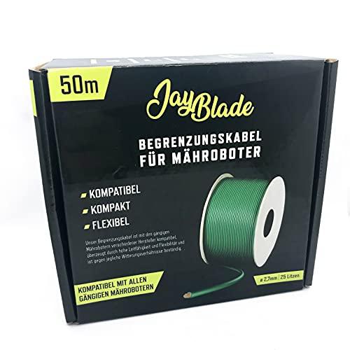 JayBlade - Cable de limitación de 50 m diámetro de 2,7 mm para robot cortacésped cable de búsqueda alambre de limitación compatible con GARDENA EINHELL HUSQVARNA WORX ROBOMOW McCulloch YARD FO