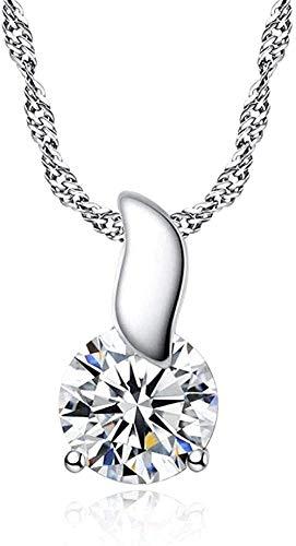 NC190 Collar Elegante Collar con Colgante de Hojas Suaves Collar con Colgante de Piedra Brillante con Ocho Corazones y Ocho Flechas