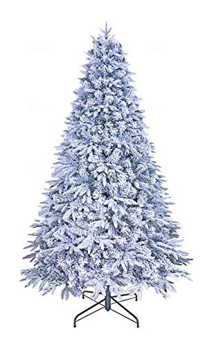 GOLDSTAR Artificial Flocked Christmas Tree 7.5 ft Unlit - Beautiful Snow Flocked Hinged Pine PE/PVC Artificial Christmas Tree Holiday Decoration – Flocked Snow Christmas Tree with Metal Stand