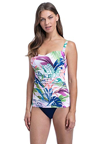 Profile by Gottex Women's Sweetheart Cup Sized Tankini Top Swimsuit, Tropicana Multi, 38E