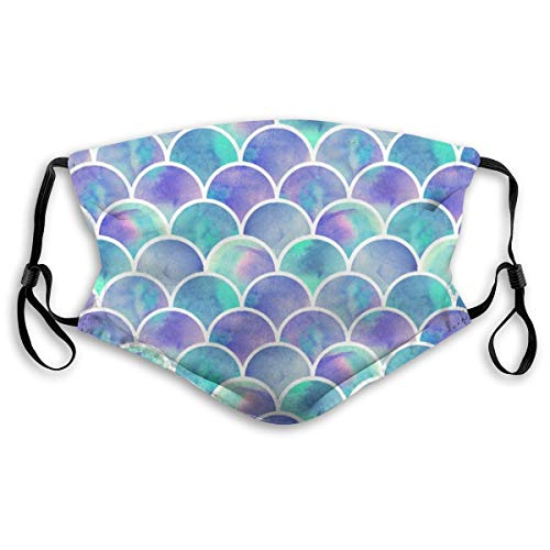 Purple Rainbow Fish Scale Washable Reusable Dust Filter and Reusable Mouth Warm Windproof Cotton Face