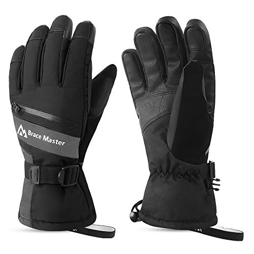Waterproof Ski Gloves - Touchscreen 3M Thinsulate Warm Winter Gloves Cold Weather Snow Gloves Ice...