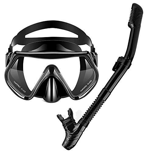 OMYAFL Snorkel Set AntiLeak Snorkel MaskAntiFog Panoramic Scuba MaskDry Top Snorkel  Carry Bag for Adult Snorkeling or Diving