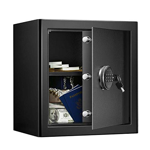 WASJOYE Security Safe Cash Box with Double Digital Keypad Safety Key Lock for Home Business Office Hotel Money Document Jewelry Passport Fireproof Waterproof Cabinet (1.36 Cubic Feet)