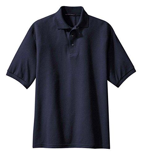 Camisa polo masculina Port Authority confortável com toque de seda, Azul marino, X-Small