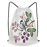 Impermeable Bolsa de Cuerdas Saco de Gimnasio ilustración vectorial pájaro lindo en floral Deporte Mochila para Playa Viaje Natación