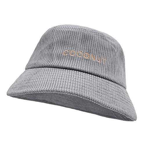 HT LT Caída de Invierno Corduroy Bucket Sombrero Retro Olla Sombrero para Mujeres con Sombrero de Bordado de Moda,Gris